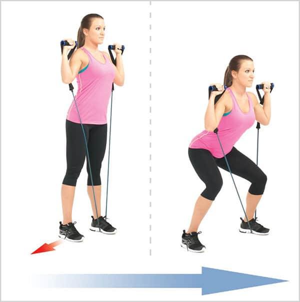 تمرین-با-کش-بدنسازی-برای-تقویت-عضلات-پا-اسکوات-یک-طرفه