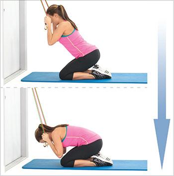 آموزش-بدنسازی-با-کش-برای-تقویت-عضلات-بازو-،-شکم-و-سرشانه-درازنشست-روی-زانو