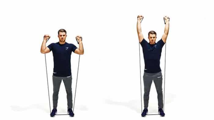 تمرین-با-کش-برای-بالاتنه-برای-تقویت-عضلات-بازو-،-شکم-و-سرشانه-پرس-بالای-سر